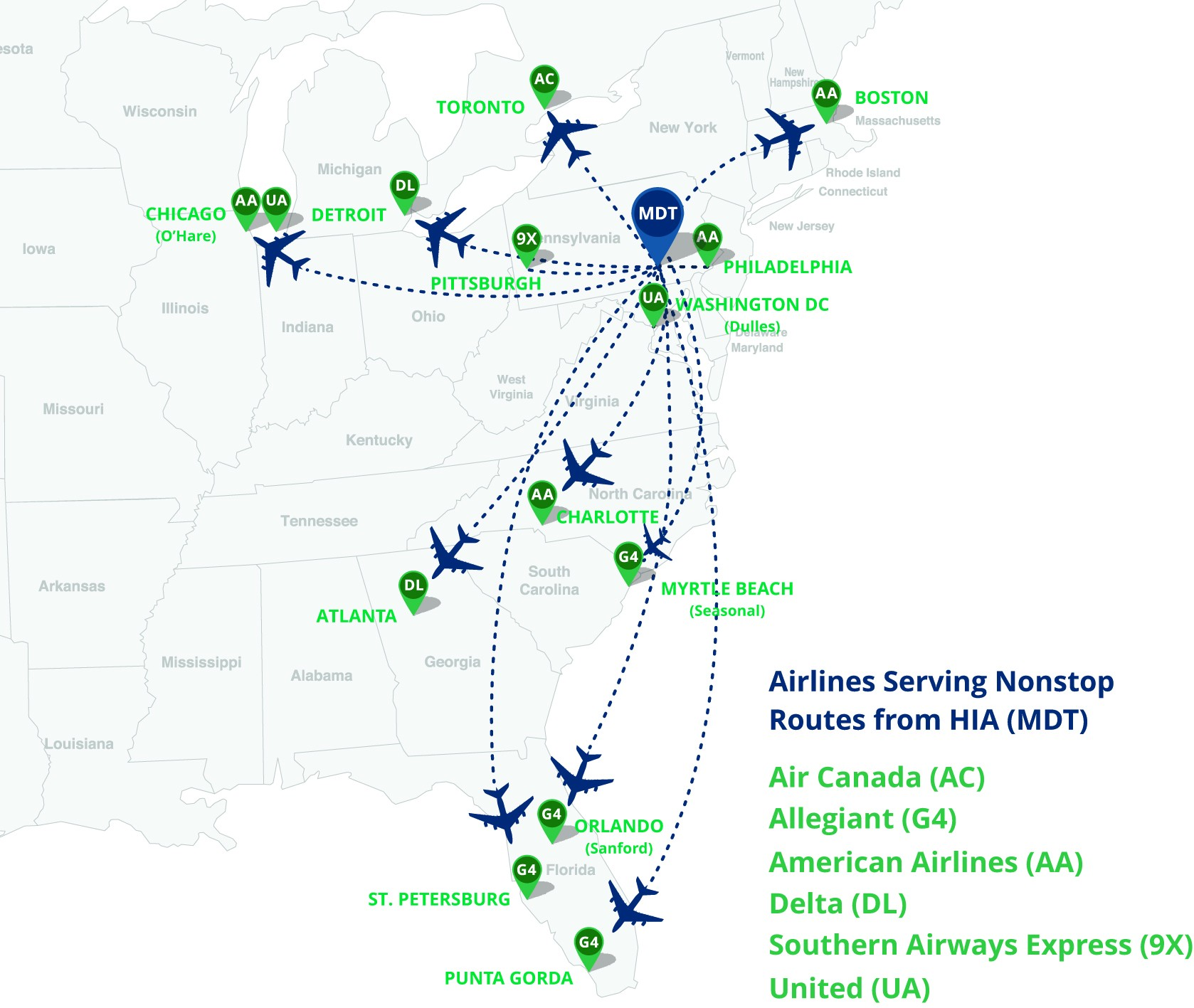 Current Nonstop Destinations From HIA Harrisburg International - Us airways direct flights map