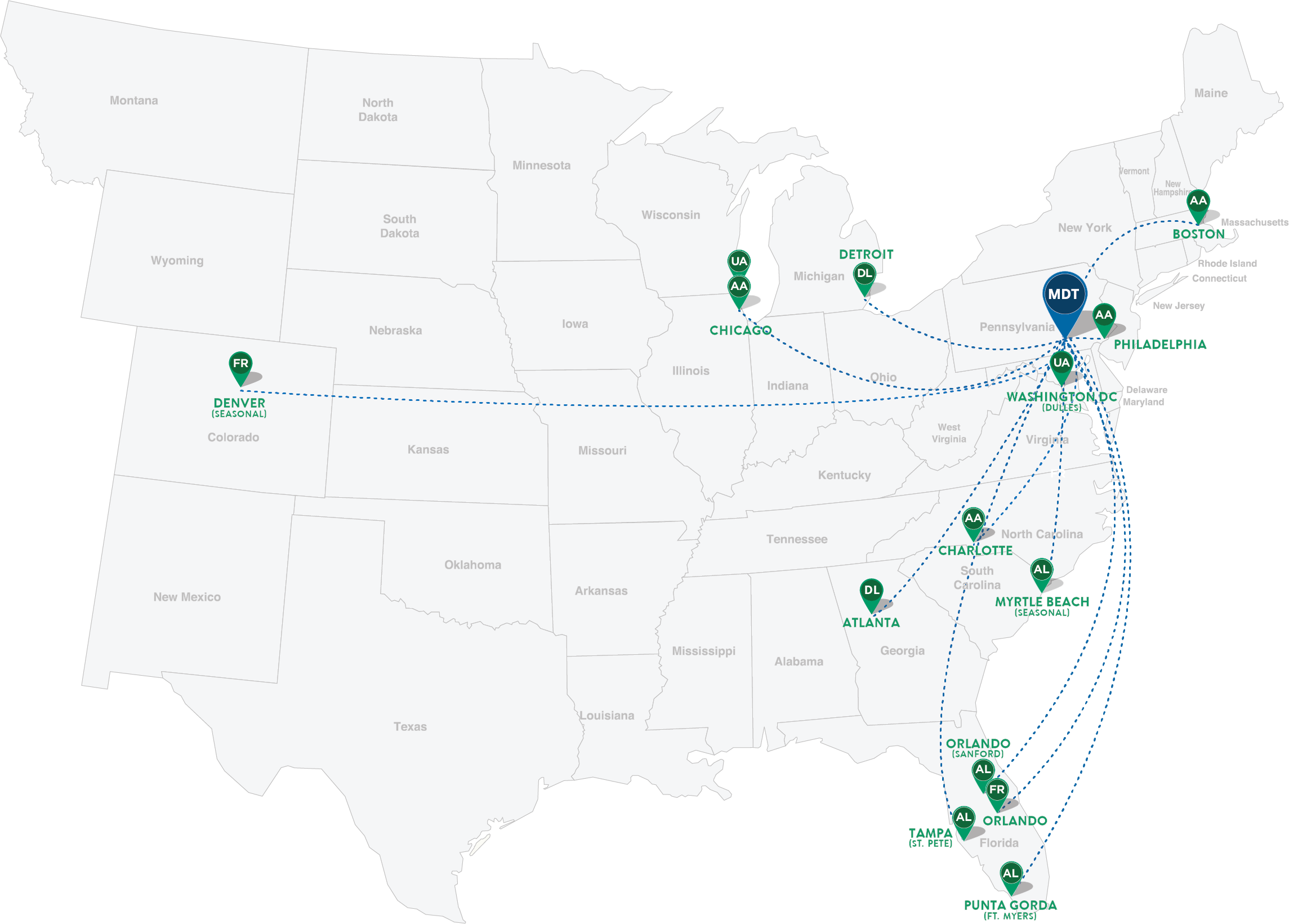 Current Nonstop Destinations From Hia Harrisburg International Airport