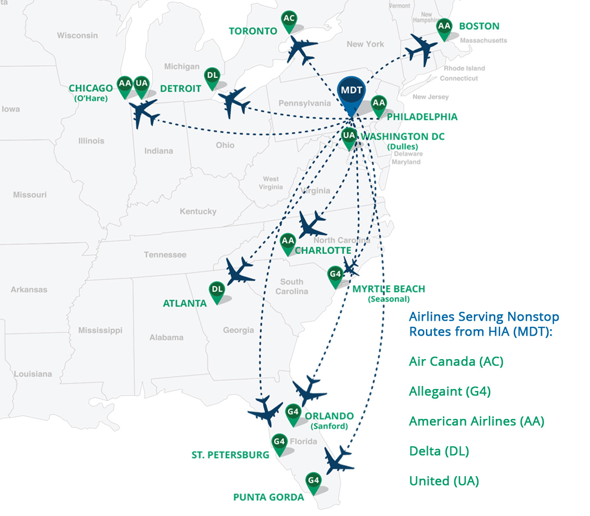 Nonstop Route Map 2016