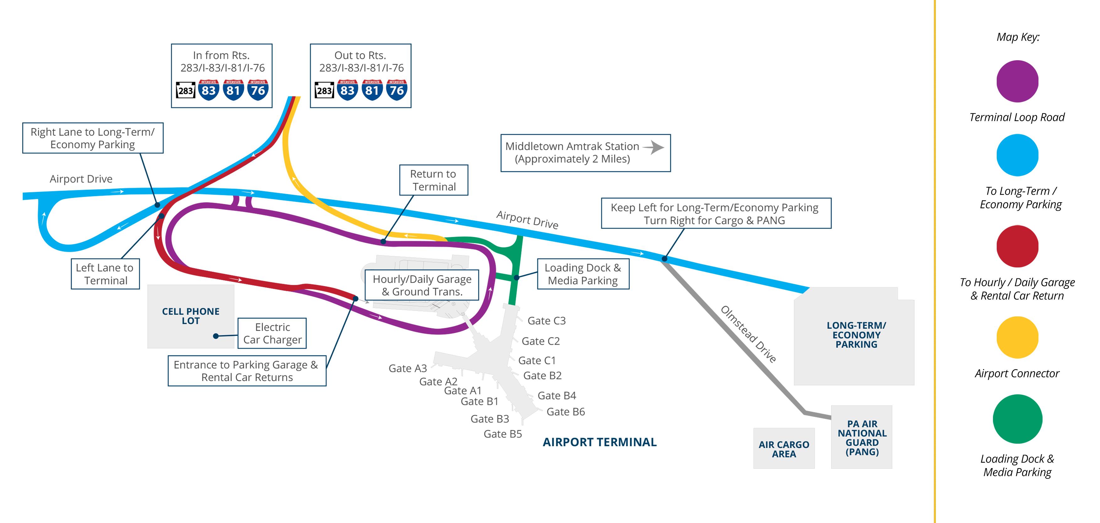 Airport Maps Harrisburg International Airport - Phl terminal map