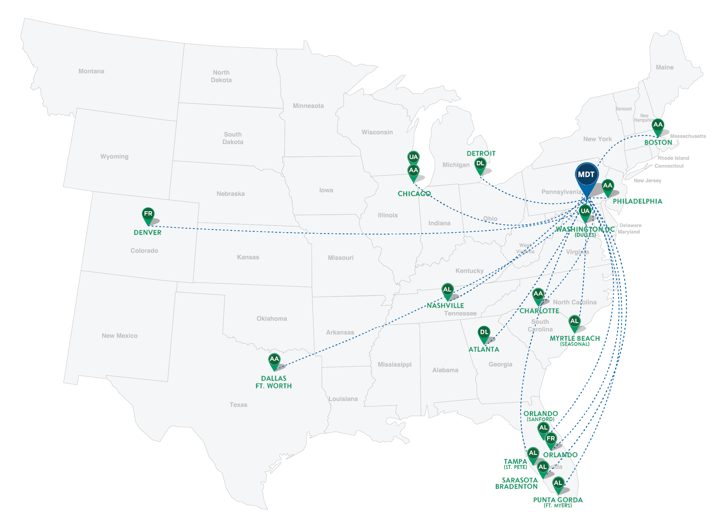 Current Nonstop Destinations From Hia Harrisburg International Airport - Us-airline-hubs-map